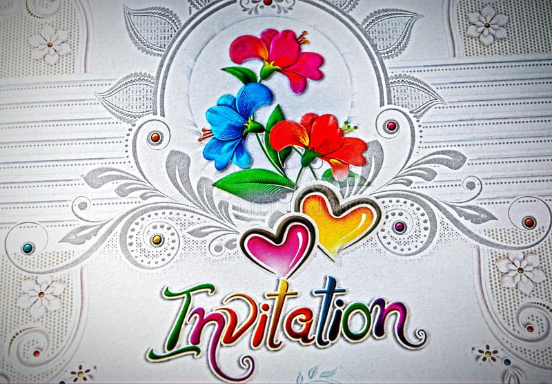 Beautiful invitation card with red and blue flowers design. Stock photo stock images
