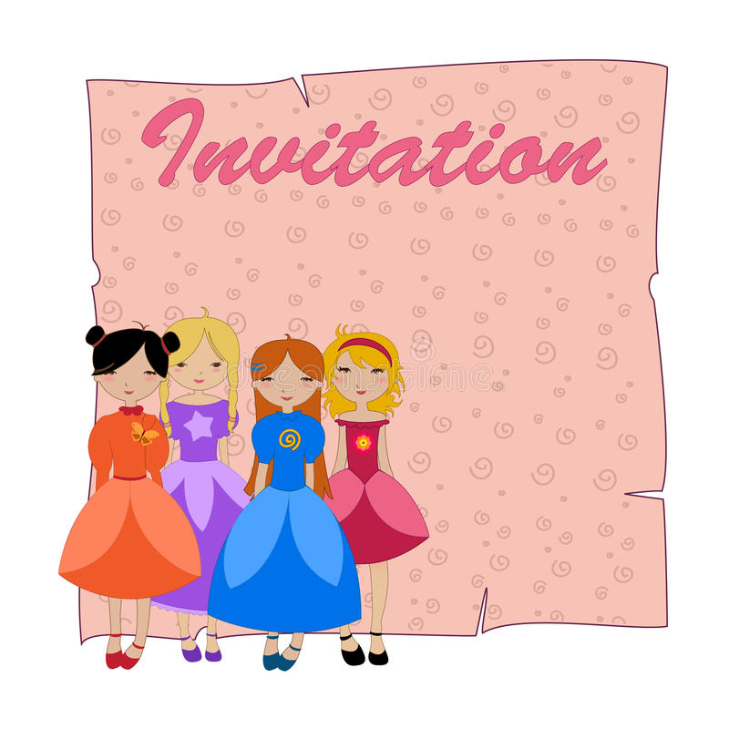 Beautiful invitation with four little girls