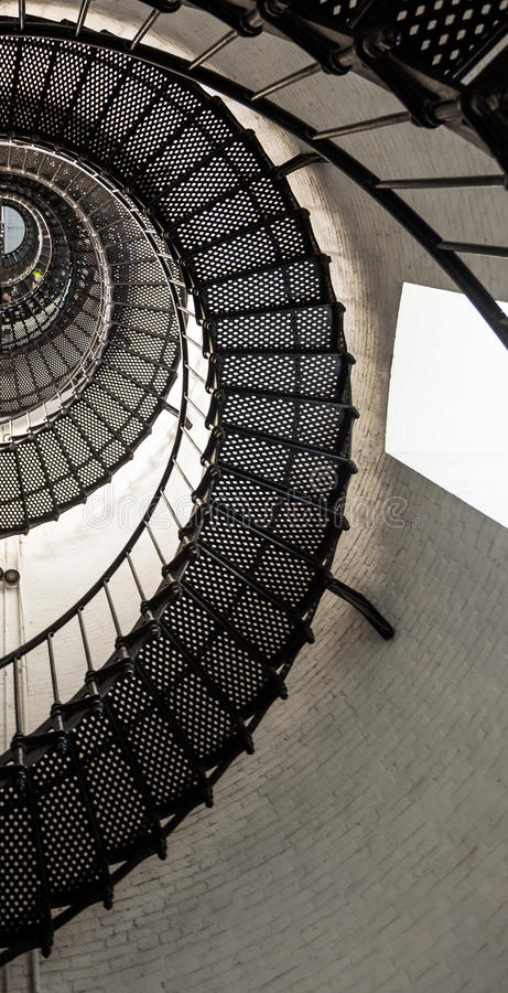 Beautiful iron stairs inside the lighthouse from Saint Augustine stock image