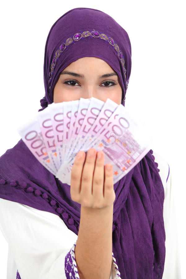 Download Beautiful Islamic Woman Wearing A Hijab Showing A Lot Of Banknotes Stock Image - Image: 32454491
