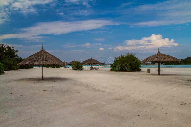Beautiful island beach at Maldives stock photo