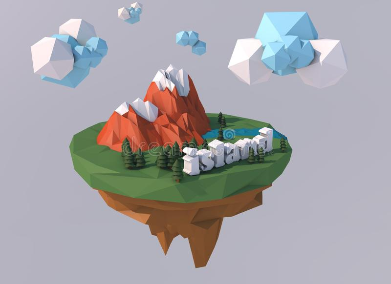 Beautiful island with clouds. Low poly 3D render royalty free stock photos