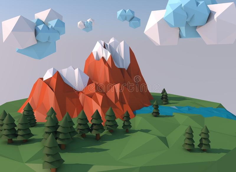 Beautiful island with clouds. Low poly 3D render royalty free stock images