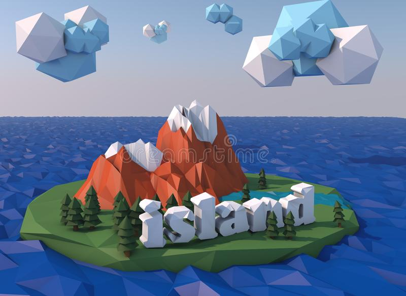 Beautiful island with clouds. Low poly 3D render stock image