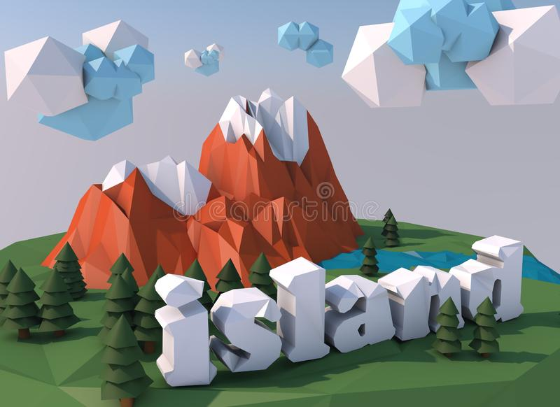 Beautiful island with clouds. Low poly 3D render royalty free stock photo