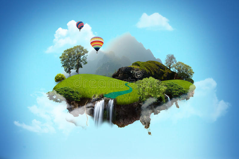 Beautiful island floating on blue sky. The island compose of tree, forest, waterfall and hot air balloonon sky royalty free stock image