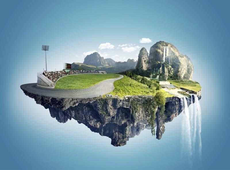 Beautiful island floating on sky stock image