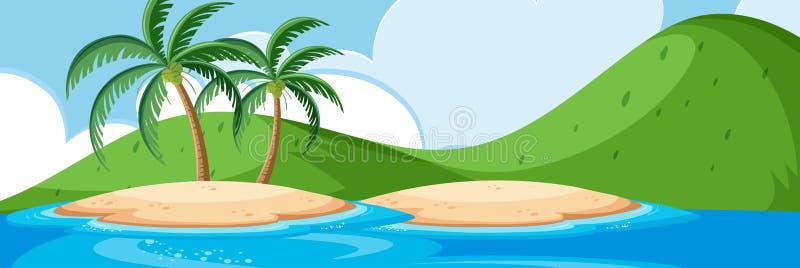 Beautiful island landscape scene. Illustration stock illustration