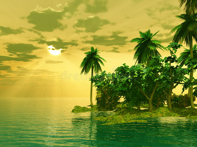 Beautiful island in the sunset stock illustration