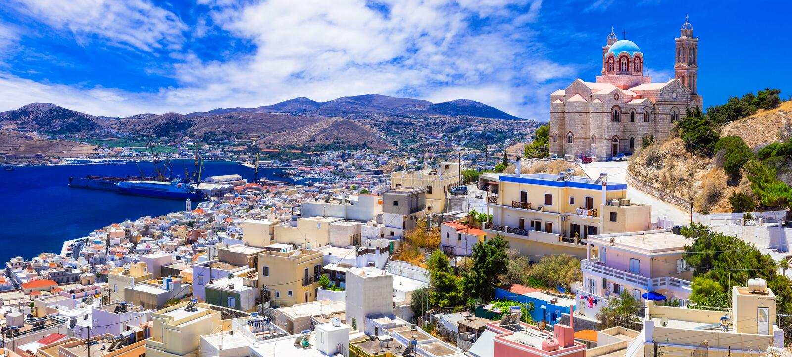 Beautiful islands of Greece - Syros, Cyclades royalty free stock image