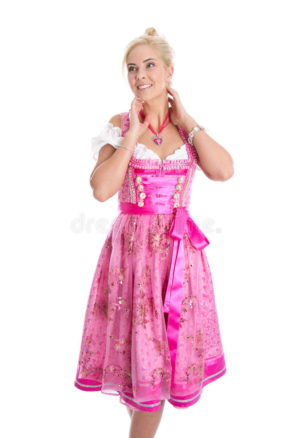 Beautiful isolated bavarian woman wearing pink traditional dress. Looking sideways royalty free stock images