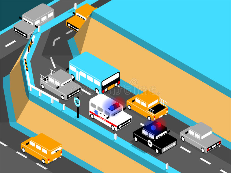 Beautiful isometric design of car on the road. Driving car on the mountain, ambulance and police car stuck in traffic royalty free illustration