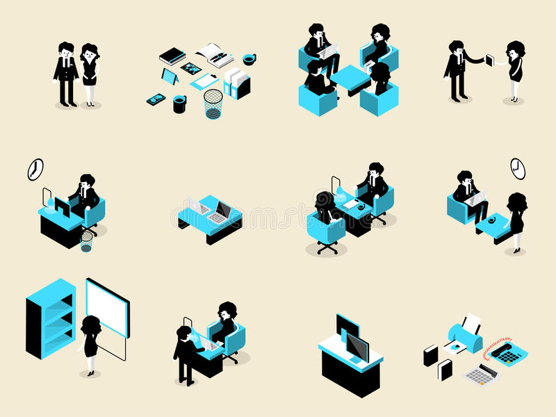 Beautiful isometric design of set of business people male and female in each situation royalty free illustration