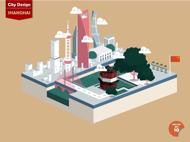 Beautiful isometric design of Shanghai city China stock illustration