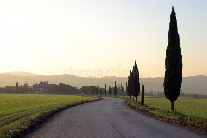 Beautiful italian landscape at dusk. Separate layered italian landscape at dusk in Marche Region stock images