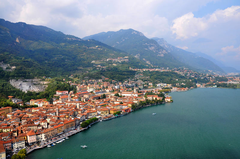Beautiful italian town Lovere on Iseo lake. Aerial view of the colorful Italian resort town Lovere on Iseo Lake stock image