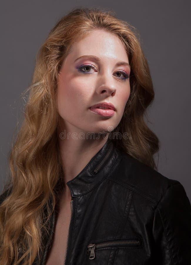 beautiful jacket leather woman στοκ φωτογραφίες με δικαίωμα ελεύθερης χρήσης