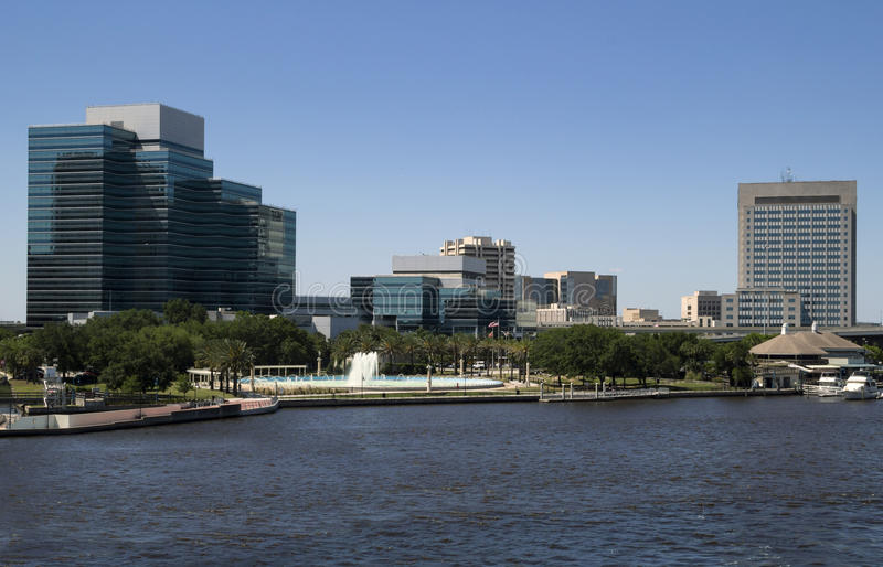 Beautiful Jacksonville, Florida Friendship Fountain and Riverwalk royalty free stock image
