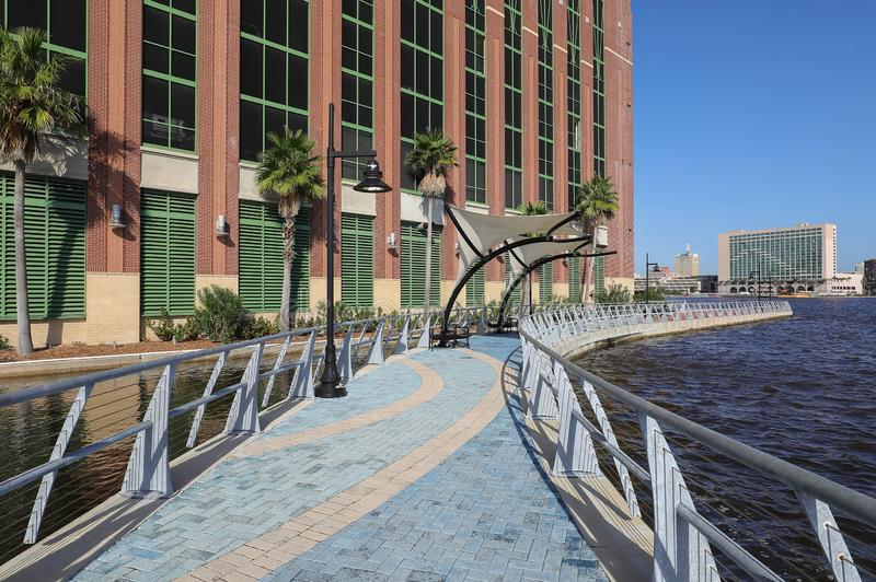 Beautiful Jacksonville Riverwalk royalty free stock photos