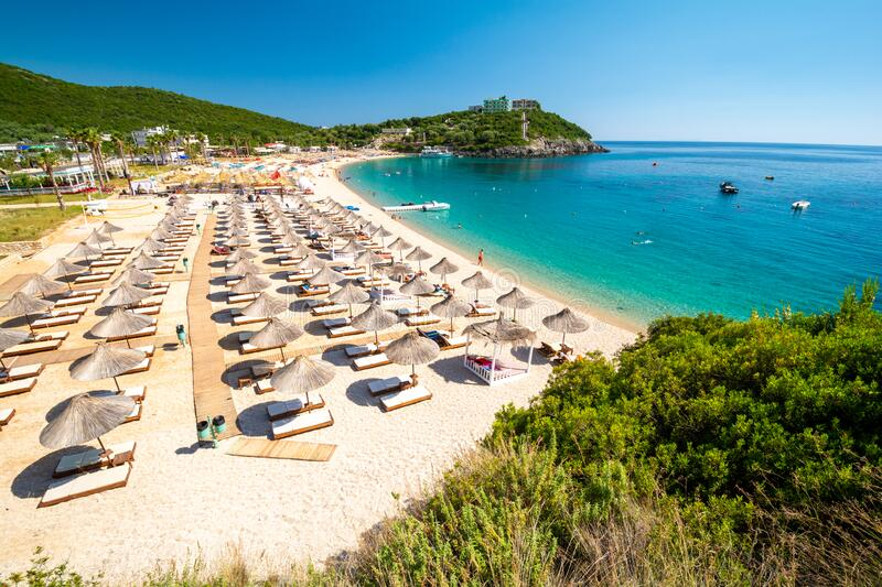 Beautiful Jale beach between Himare and Dhermi on albanian riviera, Albania stock photos