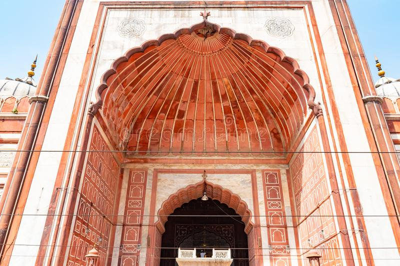 Beautiful Jama masjid mosque in center of Old Delhi, India.  royalty free stock photography