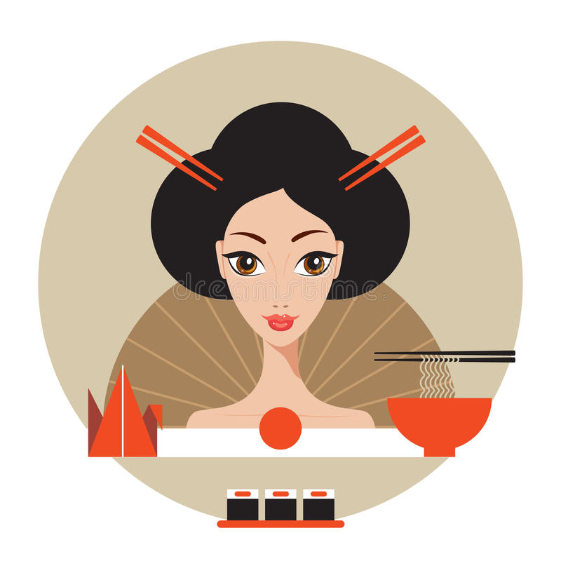 Beautiful Japan Travel banner with Geisha Sushi Origami and Noodles. Vector illustration vector illustration
