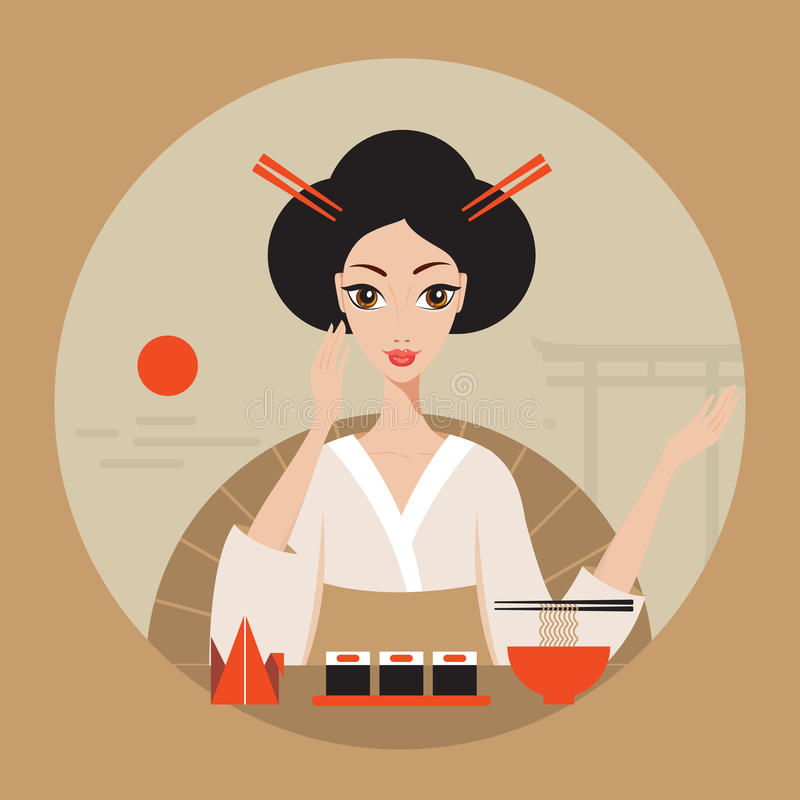 Beautiful Japan Travel banner with Geisha Sushi Origami and Noodles. Vector illustration stock illustration