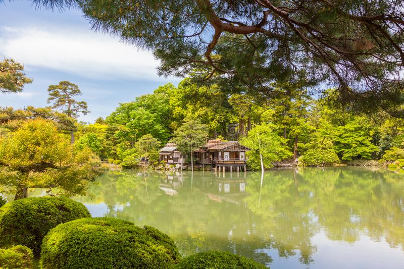 Japanese garden in full spring. A beautiful Japanese garden in full spring. Kenrokuen Garden in Kanazawa, Japan. Classified as one of Japan`s three most royalty free stock images