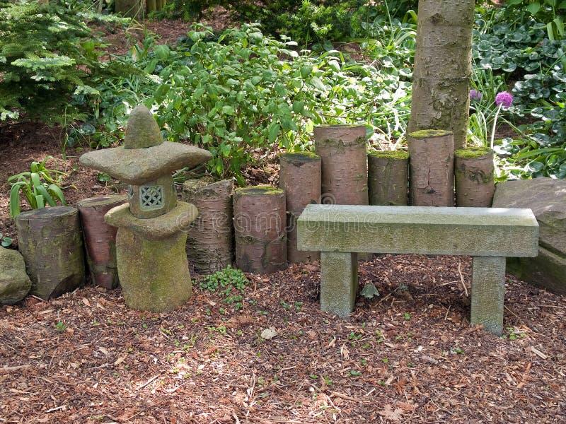 Beautiful Japanese garden romantic seating corner stock images