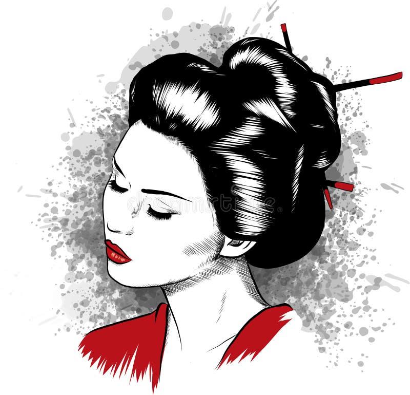 Beautiful Japanese Geisha Holds Red Fan Vector Illustration. stock illustration