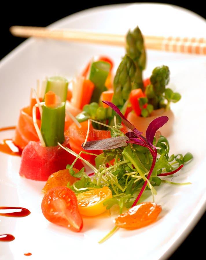Beautiful Japanese sashimi on a white plate stock image