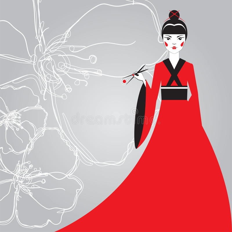 Beautiful Japanese woman in a red kimono holding sushi with chopsticks on a background linear cherry blossoms. royalty free illustration