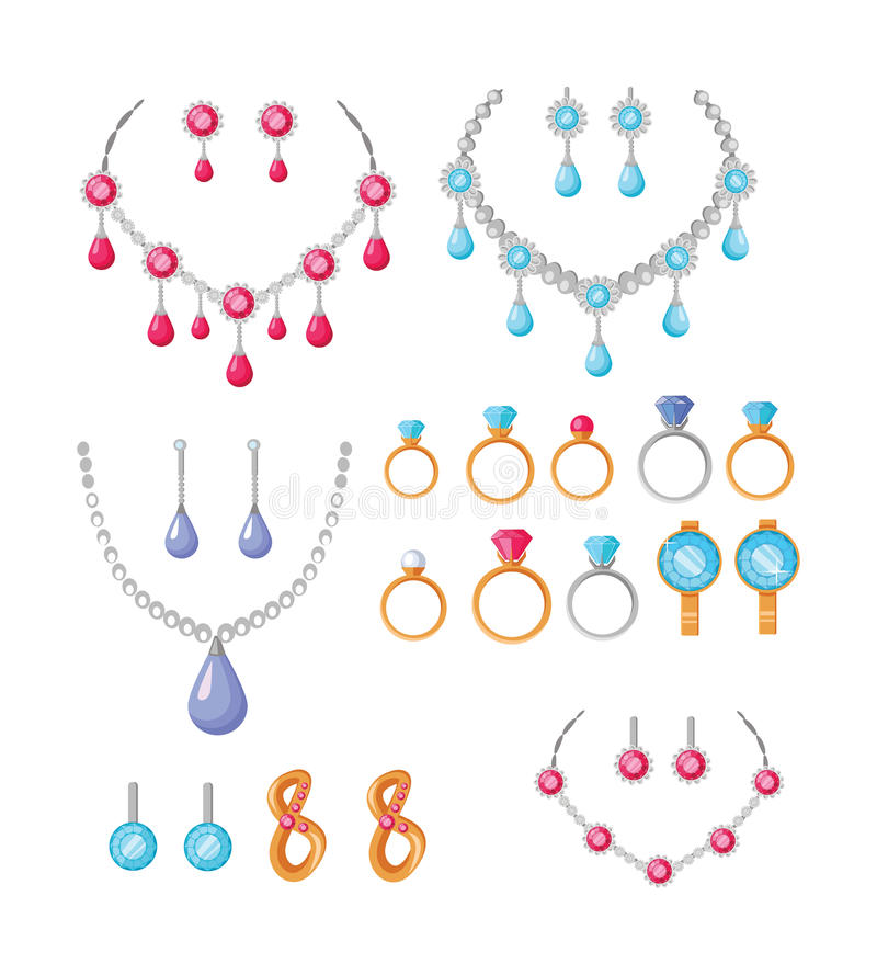 Beautiful Jewelry Accessories Icons Set Stock Vector - Image: 81465576