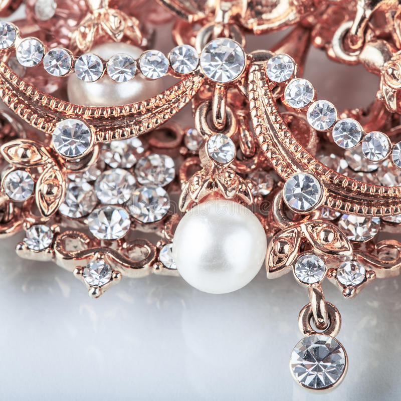 Beautiful Jewelry Background With Gold And Pearls Stock Photo ...