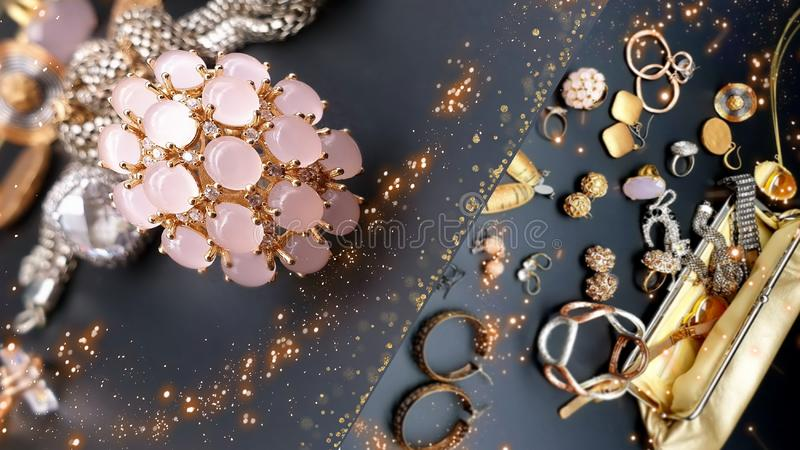 Jewelry gold earring rings   opal crystal pearl necklace bracelets for women girl wedding and gift hand watch in cosmetic cases ac. Beautiful jewelry pink opal royalty free stock photography