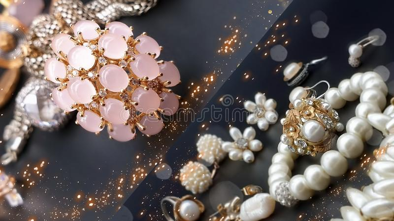 Jewelry gold earring rings   opal crystal pearl necklace bracelets for women girl wedding and gift hand watch in cosmetic cases ac. Beautiful jewelry pink opal stock photo