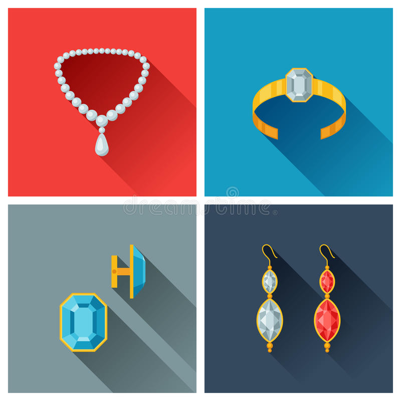Beautiful Jewelry And Precious Stones In Flat Stock Vector ...