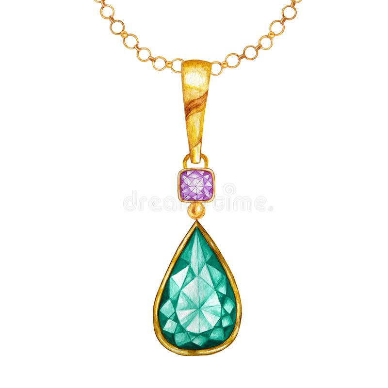 Beautiful jewelry set. Green emerald drop crystal and purple square gemstone with gold element. Watercolor drawing royalty free illustration