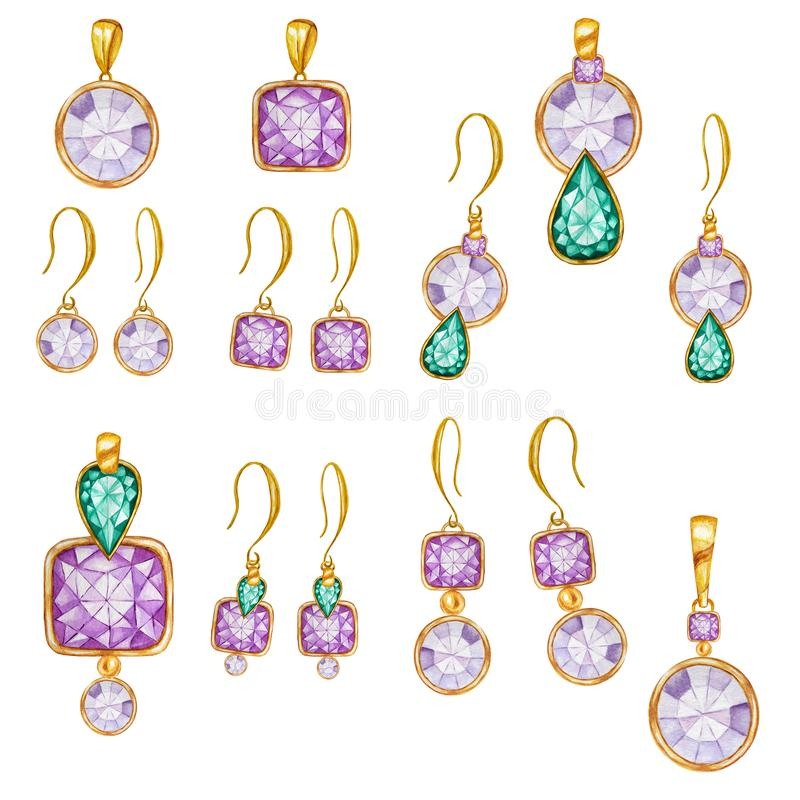 Purple green square, round crystal gemstone beads with gold element. Watercolor drawing golden Pendant on chain and stock photography