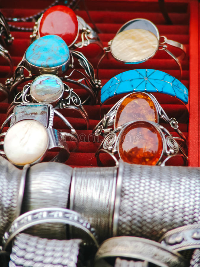Beautiful Jewelry On Street Market In Asia Stock Image - Image of ...
