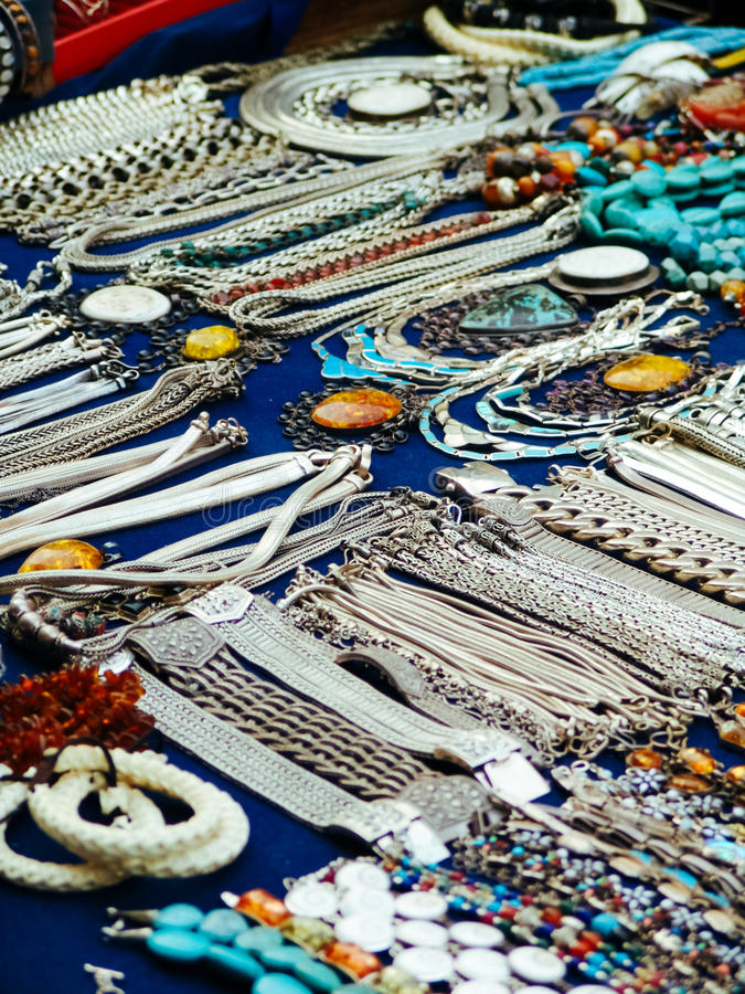 Beautiful Jewelry On Street Market In Asia Stock Photo - Image of ...