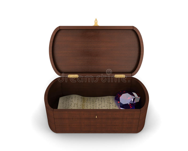 Download A Beautiful Jewelry Wooden Box With A Letter And A Heart-shaped Diamond Inside Of It Stock Illustration - Image: 28935957