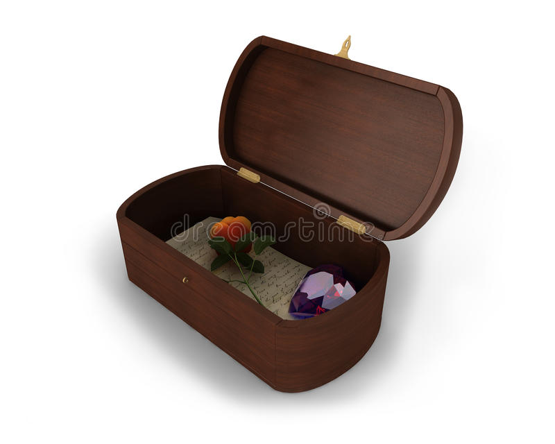 A Beautiful Jewelry Wooden Box With A Letter, Rose And Heart-shaped Diamond Inside Of It Royalty Free Stock Image