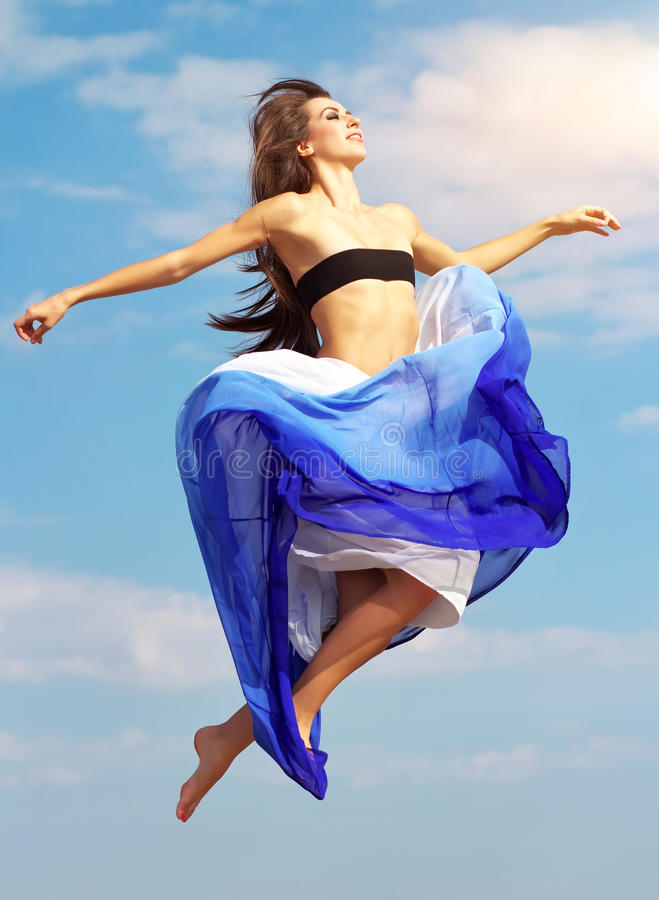 Download Beautiful jumping girl stock image. Image of female, outdoor - 34678981