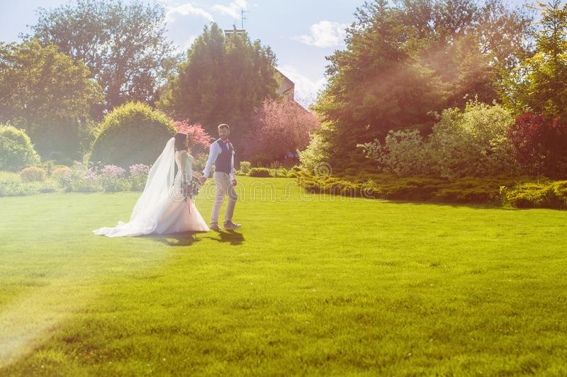 Beautiful just married couple walking in meadow. Full of sunset warm light with trees and building on background stock photo