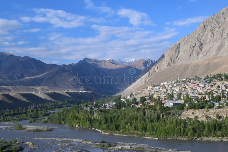 Beautiful Kargil town of ladakh on a summer morning. Kargil town situated at banks of Suru river a tributary of indus river. Kargil have high altitude dry and stock photo