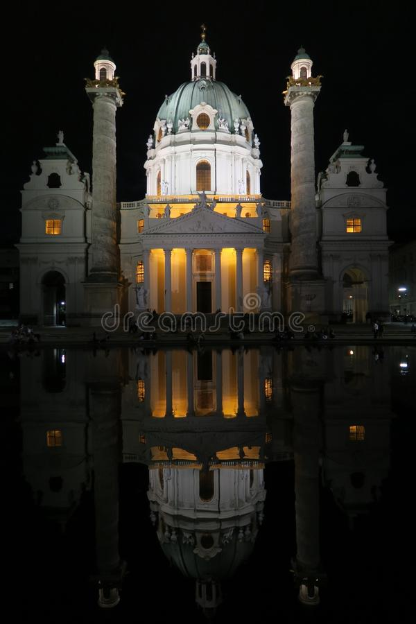 Beautiful Karlskirche Church at Night in Austrias Capital Vienna stock photo