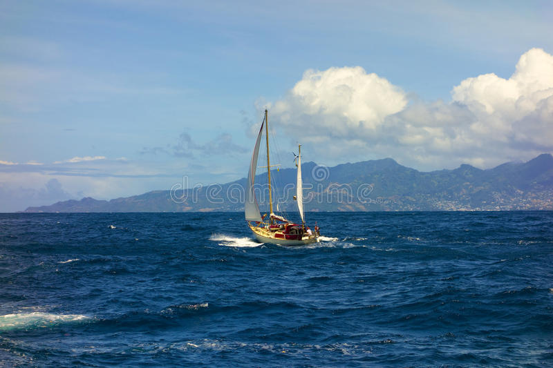 A beautiful ketch sailing the bequia channel stock photos