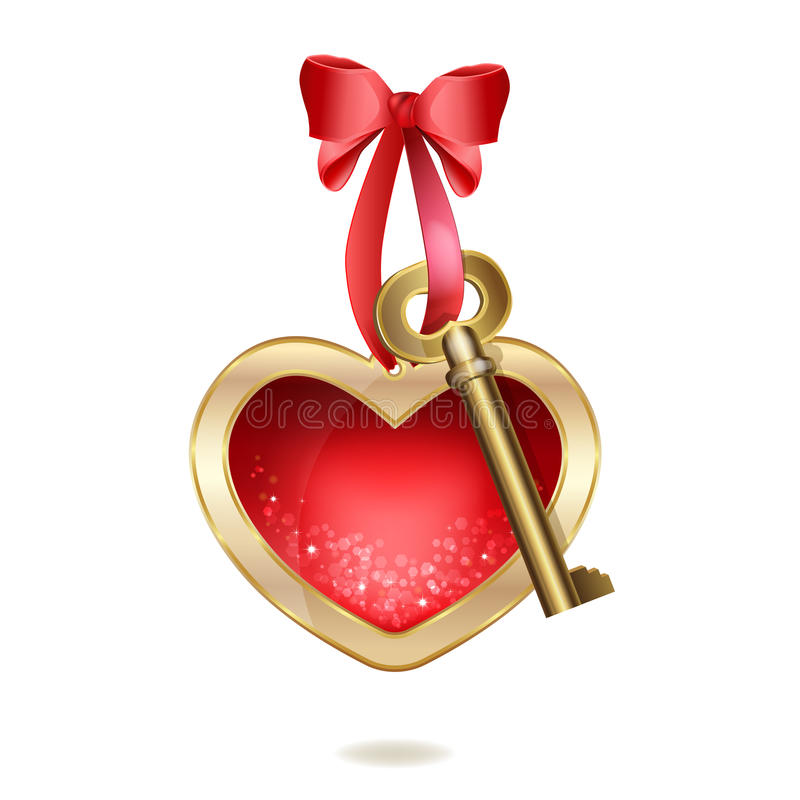 Beautiful keychain with heart and golden key stock illustration
