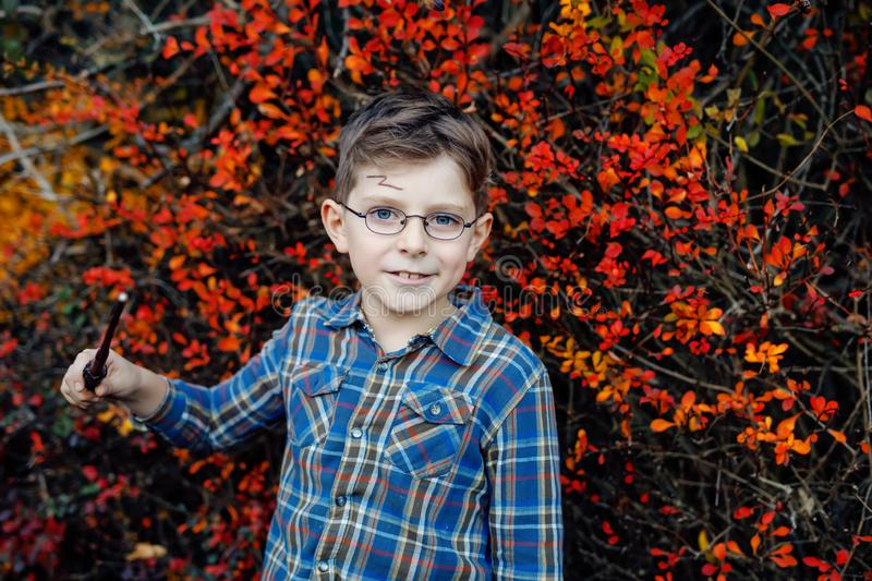 Beautiful kid boy in costume as a magician. Happy healthy child celebrating Halloween. Boy with glasses outdoors on. Beautiful kid boy in costume as a magician royalty free stock photo